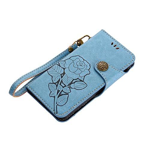 MEIRISHUN Leather Wallet Case Cover Carcasa Funda con Ranura de Tarjeta Cierre Magnético y función de soporte para Samsung Galaxy A3 (2016) - Caqui Azul
