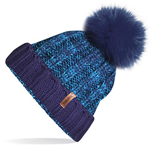 203e3975cce TOSKATOK®Womens Winter Rib Knitted Hat Beanie with Detachable Chunky Faux  Fur Bobble Pom Pom. by toskatok