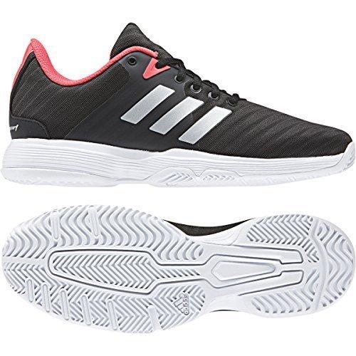 adidas Women's Barricade Court Tennis Shoe, Black/Matte Silver/Flash Red, 8 M US