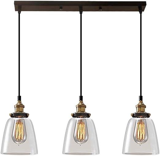 XU FENG Industrial Vintage Loft Bar Araña Campana Cristal Claro Globo Sombra Tres Luces Colgando Techo Colgante Lámpara de Luz Colocación: Amazon.es: Iluminación