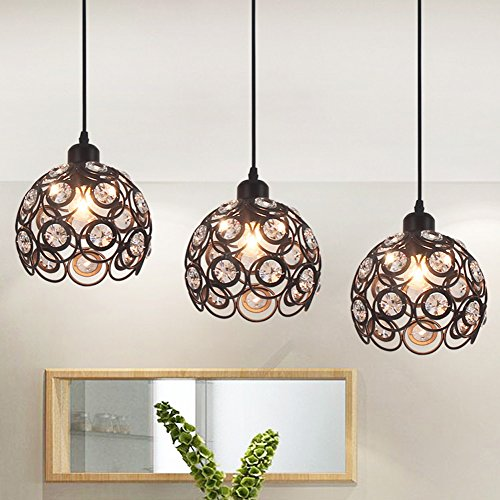 YANCEN Antique Black Metal Crystal Chandelier Lighting Hollow Pendant Light Ceiling Lamp Fixture E26 Bulb Painted Finish for Dining Room Bar Island by YANCEN (Image #4)