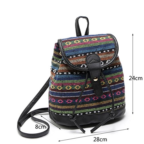 National Fashion Travel Backpack Canvas Style Bag Woven Women Bellelove A Backpack Srripe A Bag Shoulder Casual School 5EAzqfOw