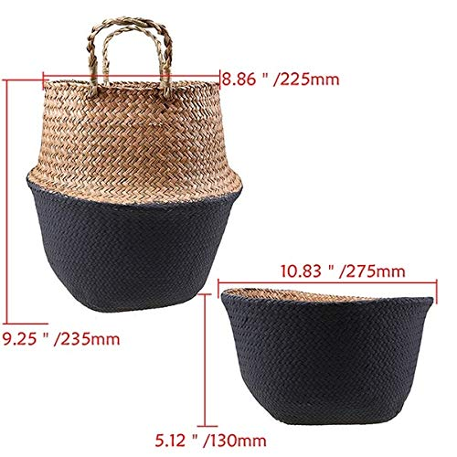 Best Quality - Storage Baskets - Handmade Seagrass Rattan Storage Basket Straw Folding Flower Pot Vase Wicker Handled Storage Basket Belly Laundry Hamper - by - 1 PCs (Wholesale Hampers Wicker)