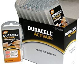 Duracell Hearing Aid Batteries Size 13 Pack 60 Batteries 1.45V