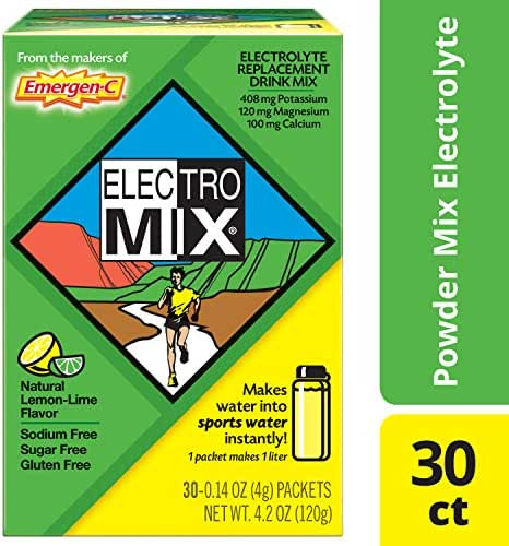 Emergen-C ElectroMix Electrolyte Replacement (Natural Lemon-Lime Flavor, 30-Count 0.14 oz. Packets)