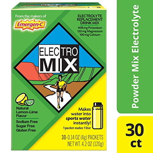 - Emergen-C ElectroMix Electrolyte Replacement (Natural Lemon-Lime Flavor, 30-Count 0.14 oz. Packets)