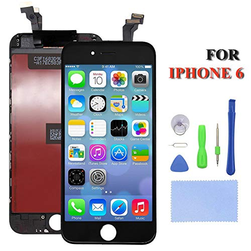 (Repair-Screen for iPhone 6 Screen Replacement LCD Display Touch Digitizer Assembly with Repair Tools Screen Protector, Compatible with Model A1549, A1586, A1589 (Black)