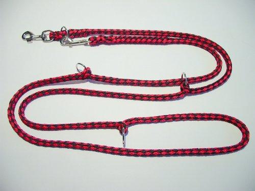 Hundeleine Doppelleine 2,80m 4fach verstellbar schwarz-rot