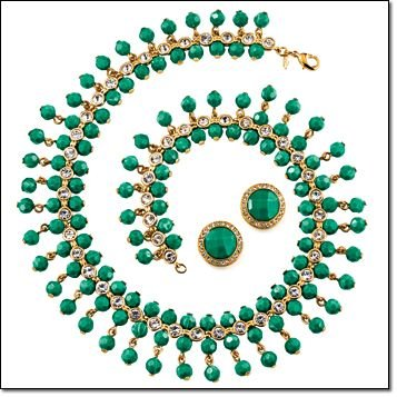 Avon Dramatic Embellished Statement Necklace - Green