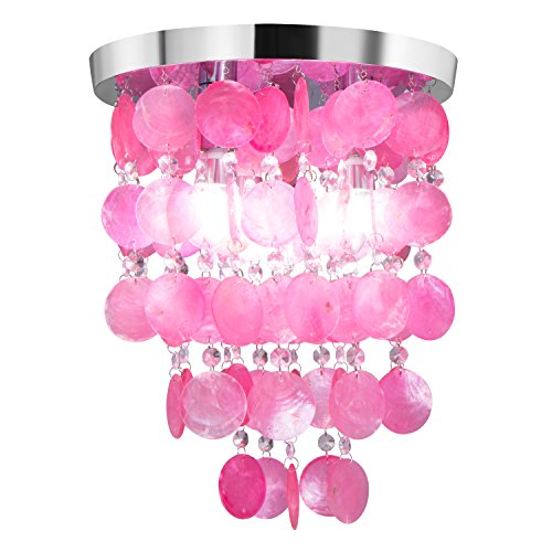 Beautiful up Crystal Shell Pendant Lamp Chandelier Lighting Ceiling Girl's Bedroom Light Pink by Beautiful UP