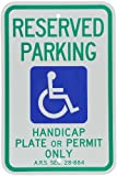 "SmartSign Handicap Parking Sign - Reserved Parking Handicap Plate or Permit Only, with Handicap Symbol - 12""x18"" 3M Reflective Aluminum"