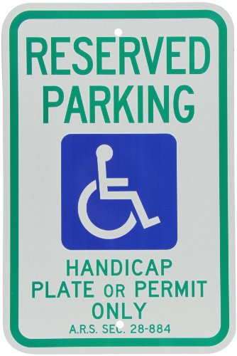 (SmartSign Handicap Parking Sign - Reserved Parking Handicap Plate or Permit Only, with Handicap Symbol - 12