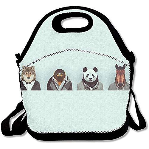 Dweobolufz Wolf Sloth Panda Horse Sir in Suit Lunch Bag Tote Handbag Lunch Boxes Adults, Kids, Girls Women
