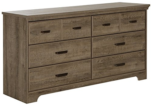 South Shore Versa 6 Drawer Wood Double Dresser Weathered Oak