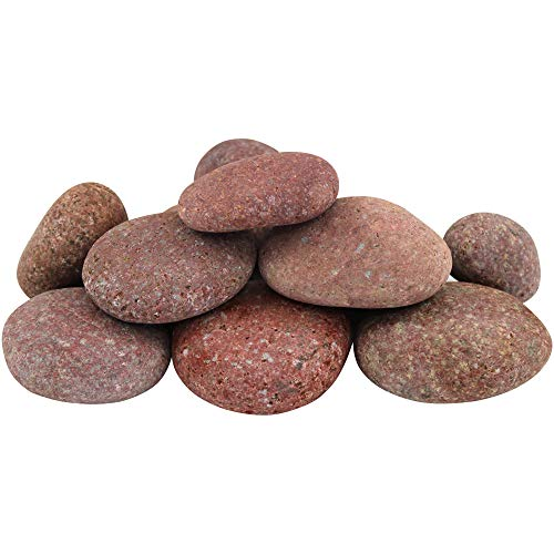 "Margo Garden Products 1-3"" 30lbs Rainforest Rosa Mexican Beach Pebbles, Medium, Red/Rose"