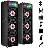 (US) Frisby FS-4080ST Bluetooth Karaoke Amplified Stereo Speaker Tower System w/ DJ Party Lights USB & SD / MMC Slots / AUX Audio Input Remote Control