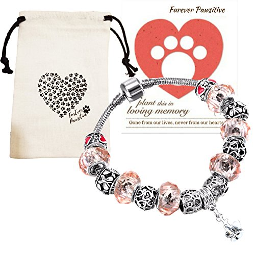 (Dog Pet Memorial Bracelet Gifts   Remembrance Keepsake Paw Print Heart Pink Beads Charm Jewelry, Love Dog Themed Bag, Flowering Pet Sympathy Card (Pink & Red Paw Print Silver Beads))