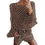 TnaIolral Ladies Top Summer Prnted Dot Summer Flare Sleeve Blouse Short Pant Sets (L, Brown)