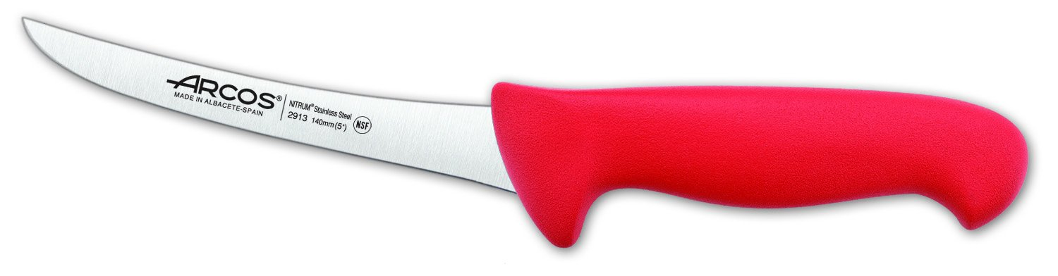 Arcos 5-Inch 140 mm 2900 Range Curved Boning Knife, Red