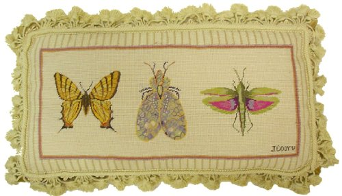 (Deluxe Pillows Butterfly, Lacewing, and Grasshopper - 12 x 22 in. needlepoint pillow )
