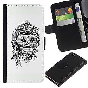 KLONGSHOP // Tirón de la caja Cartera de cuero con ranuras para tarjetas - Bender Blanco Negro indio del cráneo del robot - Apple Iphone 6 //