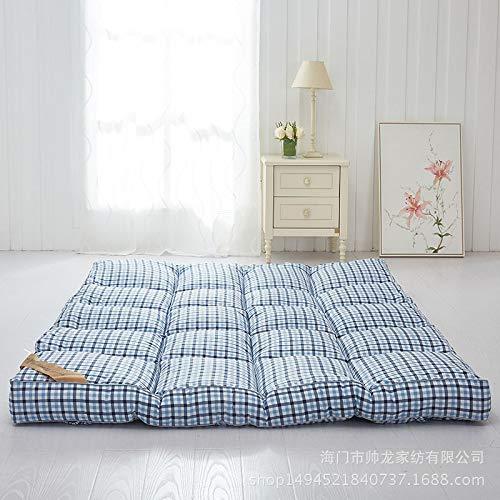 WENLONG - Colchón de Tatami Plegable de 10 cm, colchón Doble para Estudiantes, colchón más Grueso, 100 * 200cm, Blue Lattice: Amazon.es: Hogar