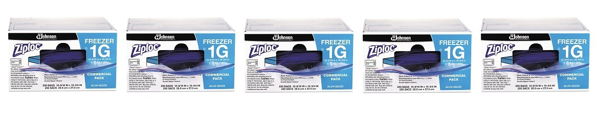 Ziploc 94604 Double-Zipper Freezer Bags, 1gal, 2.7mil, Clear w/Label Panel (Case of 250) (5-(Case of 250))