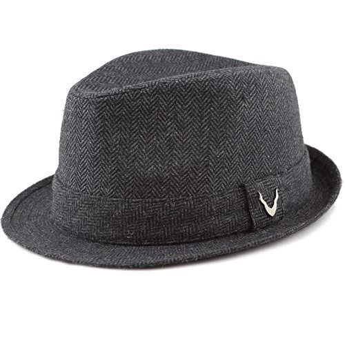 THE HAT DEPOT Black Horn Unisex Cotton Wool Blend Herringbone Trilby Fedora Hats (Medium, Herringbone- - Size 7 Hat