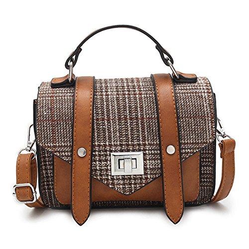 QSEVEN - Bolso al hombro para mujer, morado (Morado) - K7-0518 4Plaid bag Purple Marrón