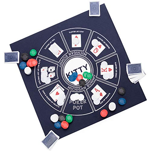 """Michigan Rummy: A Royal Game of Hearts, Poker & Rummy – Betting & Bluffing Board Game – Classic Family Card Game for Adults & Kids – 200 Poker Chips, 24"""" x 24"""" Mat & Custom Card Deck"""