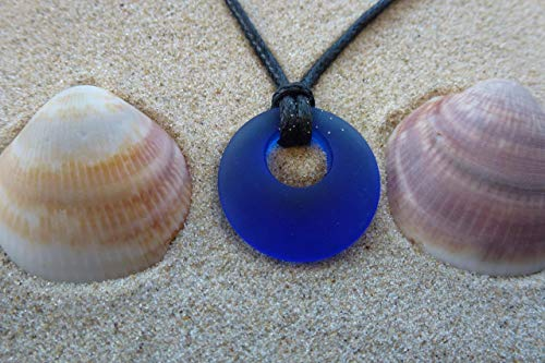 - Blue sea glass necklace on a waxed cotton 24 inch cord with small 0.5 inch donut shape beautiful pendant, aqua unisex jewelry Christmas gift under $20