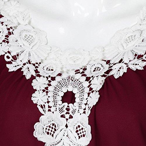 Blouse Tops Vrac Unie col V Dentelle Femmes Manches Rouge T Shirt Couleur en Bringbring Longues en qt1w66
