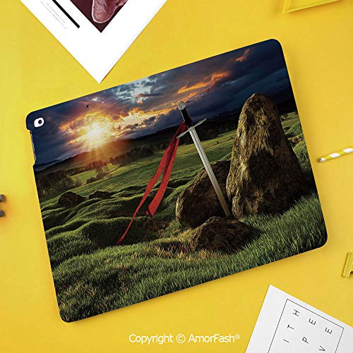Case for Samsung Galaxy Tab S4 10.5 T830 T835 T837 Kids Safe Shockproof,King,Arthur Camelot Legend Myth in England Ireland Fields Invincible Sword Image,Green Blue and Red