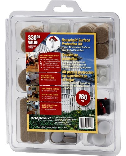 Shepherd Hardware 9046 Household Surface Protection Kit, Felt, Sliders, Vinyl Bumpers, Nail-On Tacks, 180-Pieces (Vinyl Bumper Hardware Shepherd)