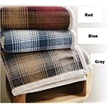 """Cottage Plaid Throw, Faux Lambswool, 50""""x60"""", Red Plaid"""