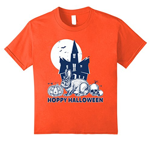 Kids Hoppy Halloween T-shirt Rabbit Lovers Pumpkin Skull Castle 10 Orange