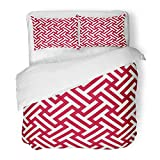 Emvency Bedding Duvet Cover Set Queen (1 Duvet Cover + 2 Pillowcase) Navajo Corporate Red and White Ethnic Op Tribal Pattern Mexican Vintage Abstract Hotel Quality Wrinkle and Stain Resistant