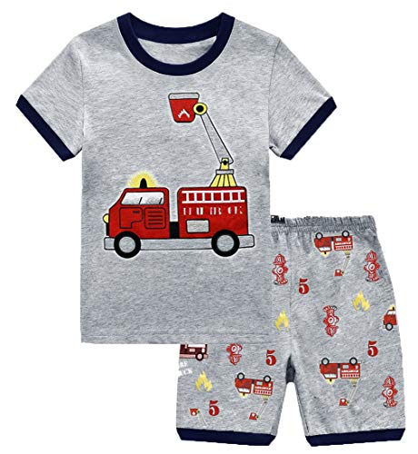 (GSVIBK Boy Pajamas Kids Cotton 2 Piece Sleepwear Short Sleeve Pajama Set Toddler Pajamas Truck Dinosaur 6-7Years 097)