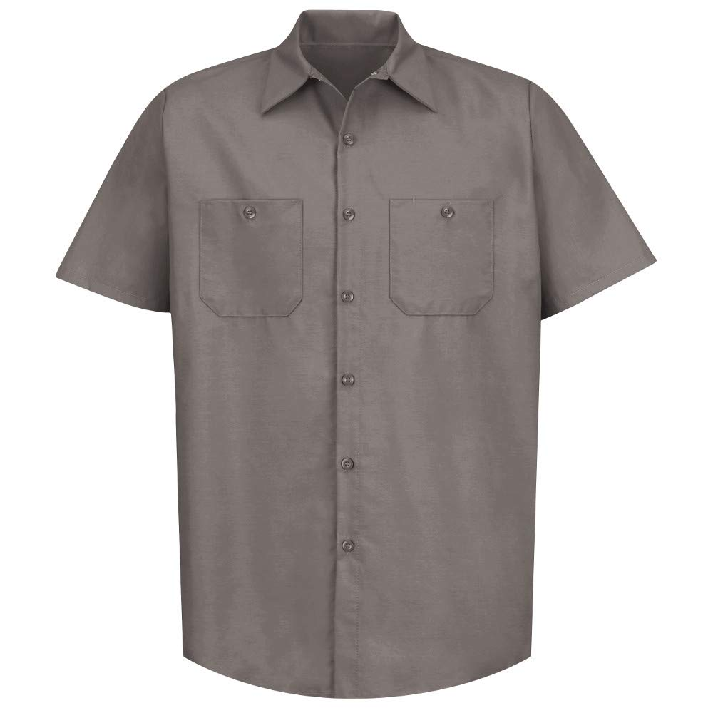 Red Kap Short Sleeve Industrial Solid Work Shirt Grey Large - 2 Pack