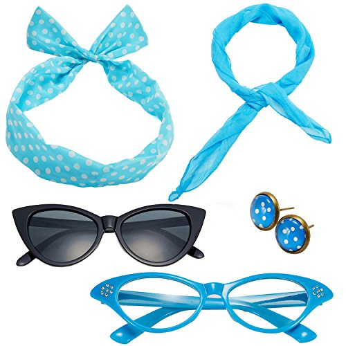 50's Costume Accessories Set Chiffon Scarf Cat Eye Glasses Bandana Tie Headband and Earrings (OneSize, ()