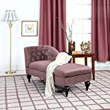 Divano Roma Furniture EXP76-VV-LPUR Chaise Lounge Indoor Chair Tufted Velvet Fabric, Modern Long Kid Size Lounger for Office or Living Room (Mauve)