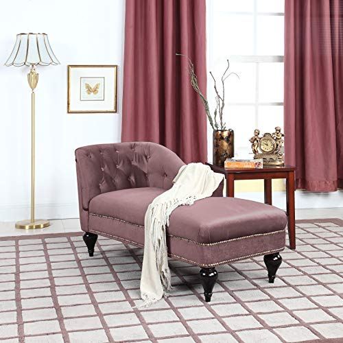 Divano Roma Furniture Velvet Kid's Chaise Lounge - Mauve