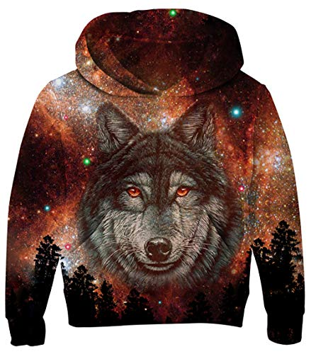 UNICOMIDEA Big Kids Pullover Trendy Sweater Forest Wolf Patterns Hooded Sweatshirt Dancer Hoodie Tops with Pouch Size L -