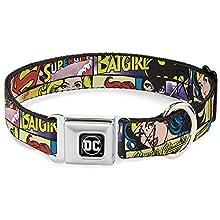 "Buckle-Down Seatbelt Buckle Dog Collar - Superheroines Wonder Woman/Supergirl/Batgirl - 1.5"" Wide - Fits 16-23"" Neck - Medium"