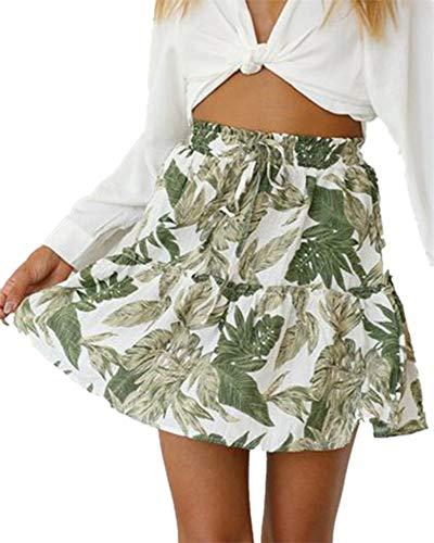 Womens Leaves Print Elastic Waist Pleated Mini Skirts Casual Floral Swing Skater Skirt
