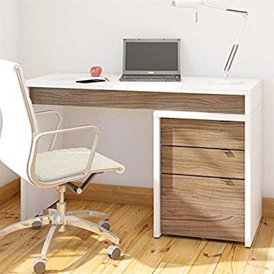 Nexera Liber-T 3 Drawer Computer Desk in White and Walnut - Finish: White, Walnut Material: Engineered Wood, Melamine Application: Home Office - writing-desks, living-room-furniture, living-room - 51U qzJQ04L. SS400  -