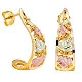 Diamond-Cut Semi Hoop Earrings, 10k Yellow Gold, 12k Green and Rose Gold Black Hills Gold Motif