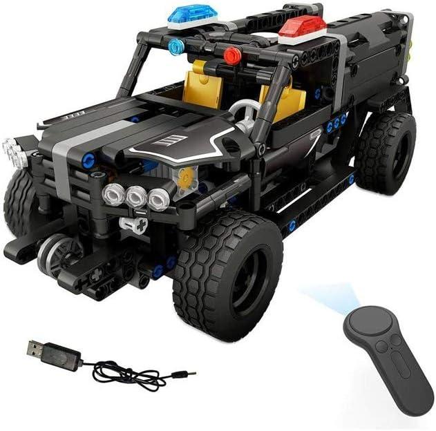 GRTVF Control Remoto RC Car 4 Canales de Control Remoto eléctrico del Coche policía Coche del Camino de Camiones Bloques de Juguetes Ensamble de Vehículos Kit Modelo de Juguete for niños