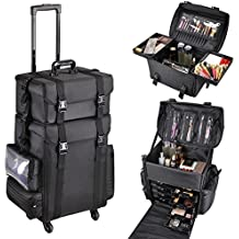 """AW 2in1 Black Soft Sided Rolling Makeup Case Oxford Fabric Cosmetic 15x11x25"""" Train Bag With Drawers"""