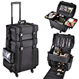 AW 2in1 Black Soft Sided Rolling Makeup Case Oxford Fabric Cosmetic 15x11x25'' Train Bag With Drawers